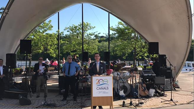 Assemblyman Santabarbara joined the celebration of the Erie Canal Bicentennial at Riverlink Park in the great City of Amsterdam on June 10th, 2017.<br />