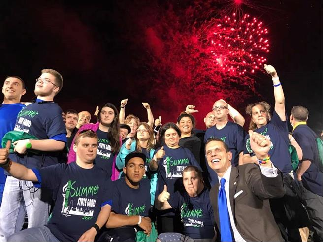 Celebrating with the Capital Region Special Olympics at the Opening Ceremonies for the 2017 Summer Games at Siena College June 16th, 2017.<br />