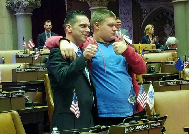 Assemblyman Santabarbara is joined in the Chamber by his son, Michael, diagnosed with Autism at age 3. (2/14/17)<br />