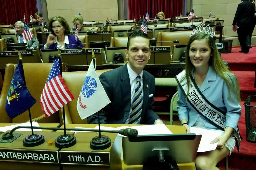 Assemblyman Santabarbara was pleased to welcome Raelyn Hattat to the Assembly Chamber today, Sophomore at Fonda-Fultonville High School and a member of my Student Cabinet. 1/23/17<br />