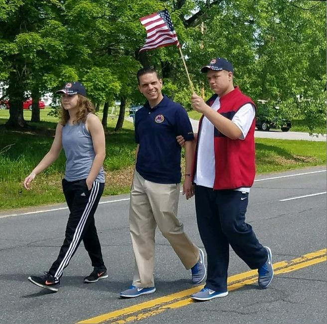 Assemblyman Santabarbara marched with his children, Marianna and Michael, in the Delanson Volunteer Fire Department Memorial Day Parade.   May 27th, 2017<br />