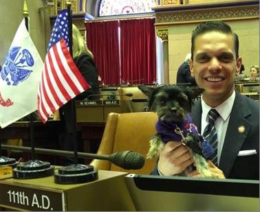 Animal Advocacy Day at the Capitol with Assemblyman Santabarbara and his teacup Yorkie, Muffy on May 28th 2017.<br />