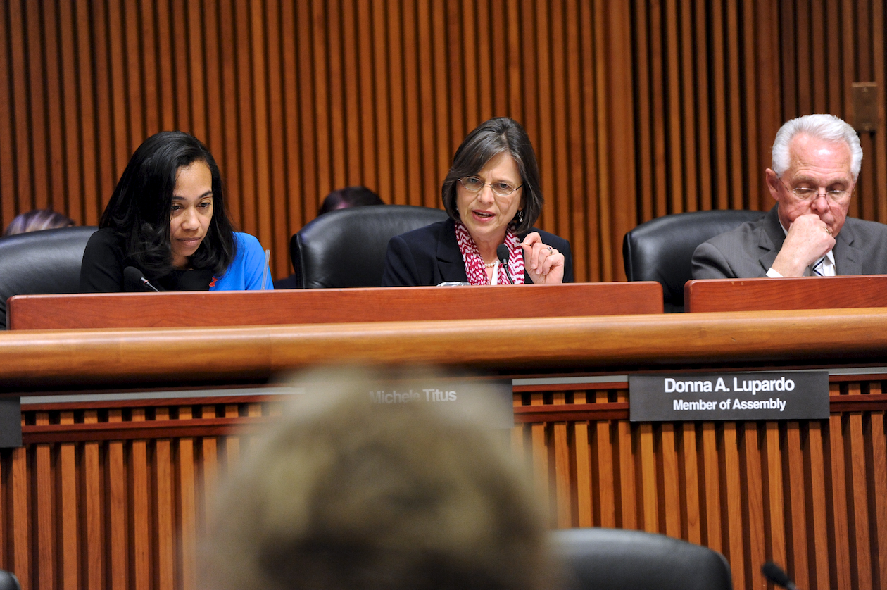 February 4, 2014 – Assemblywoman Donna Lupardo participates in a budget hearing on Human Services with colleagues Assemblywoman Michele Titus and Assemblyman Cliff Crouch.