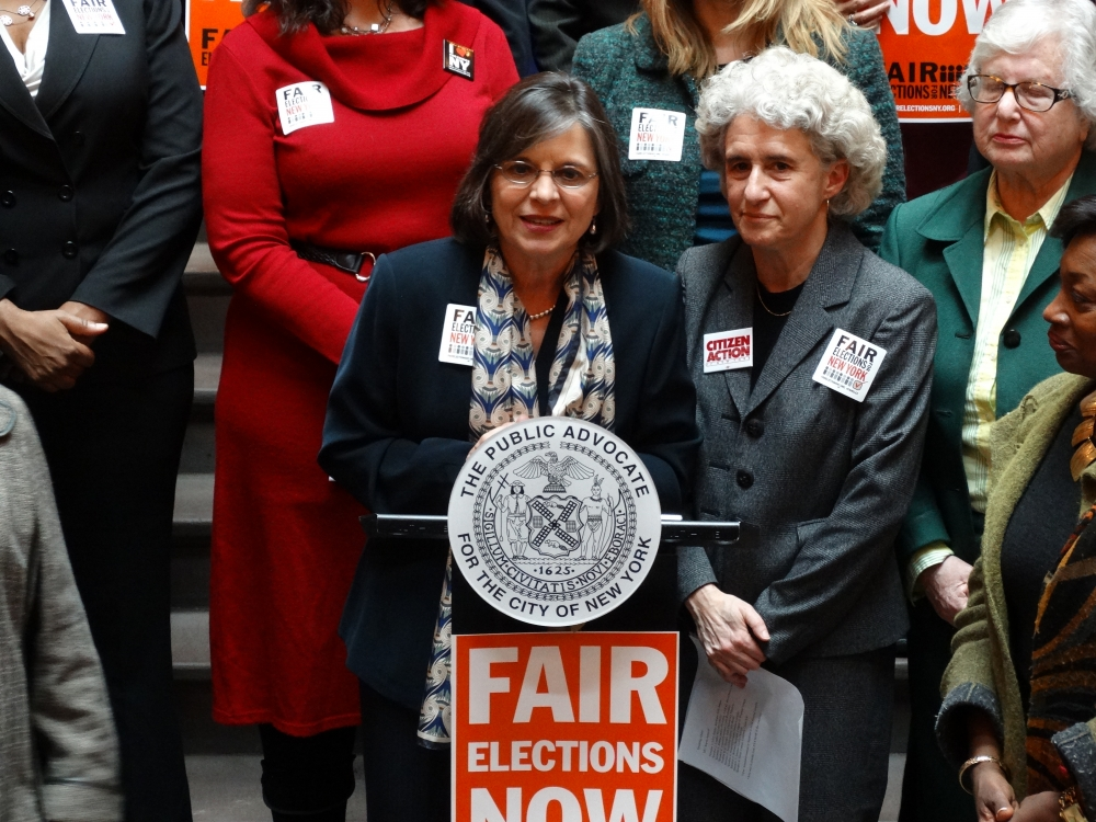 March 5, 2014<br>Assemblywoman Donna Lupardo speaks at a rally at the Capitol in support of fair elections in New York.