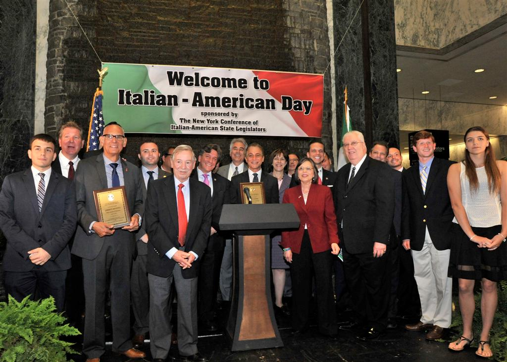 The New York Conference of Italian-American State Legislators honored actor Tony Danza and drummer Liberty DeVito, along with several scholarship winners at its annual Italian Day at the Capitol.