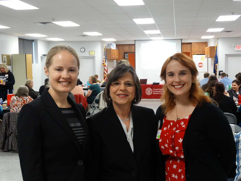 November 7, 2014 – Assemblywoman Donna Lupardo joins Nora Niedzielski-Eichner of NYSAN (left) and Katie Bowers of Cornell Cooperative Extension of Broome County (right) to launch the Expanded Learning
