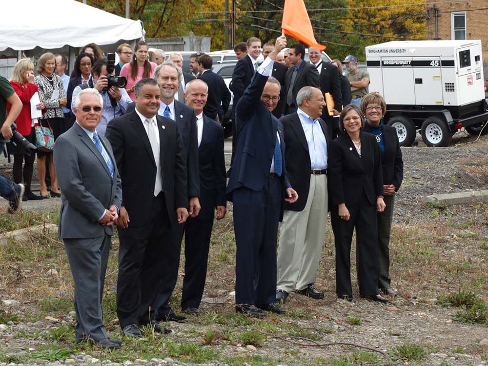 October 2, 2014 – US Senator Charles Schumer joins Assemblywoman Lupardo and other local elected officials for groundbreaking of the Southern Tier High-Technology Incubator in Binghamton.