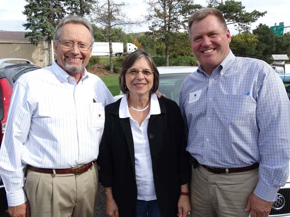 September 29, 2014 – Commissioner of Agriculture & Markets Richard Ball (left) and Deputy Secretary for Food & Agriculture Patrick Hooker (right) join Assemblywoman Lupardo for a tour of Broome County