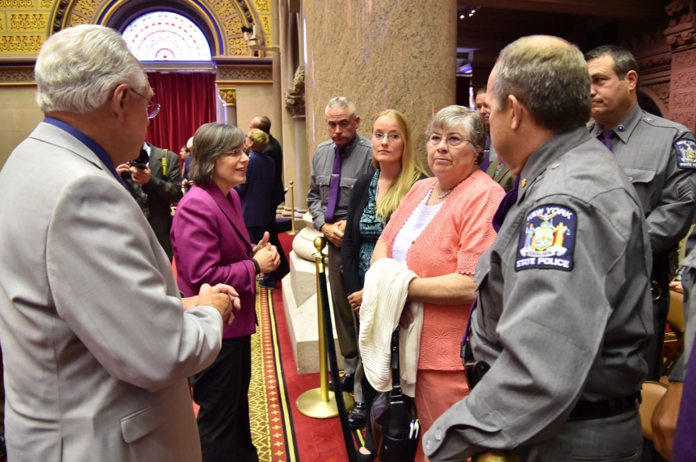 June 2, 2015 – Assemblywoman Lupardo and Assemblyman Clifford Crouch meet with fallen New York State Trooper Christopher Skinner's fiancée and mother, and other members of the New York State Police. A