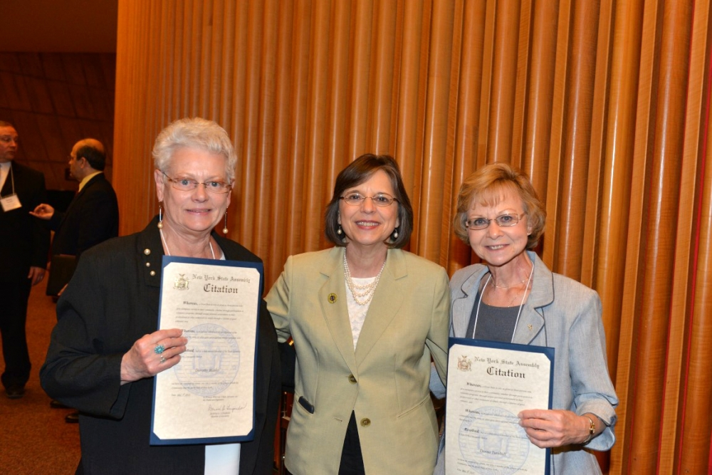 May 5, 2015 – Assemblywoman Lupardo meets with Broome County honorees Dorothy Blasko (left) and Donna Turnbull (right) during New York State Senior Day celebration in Albany.