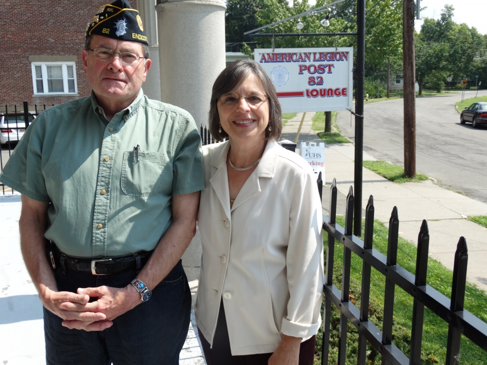 August 18, 2015 – Assemblywoman Lupardo and Ross Gleason of American Legion Post 82 in Endicott. An Assembly grant secured by Assemblywoman Lupardo funded a much-needed upgrade to the legion's plumbin