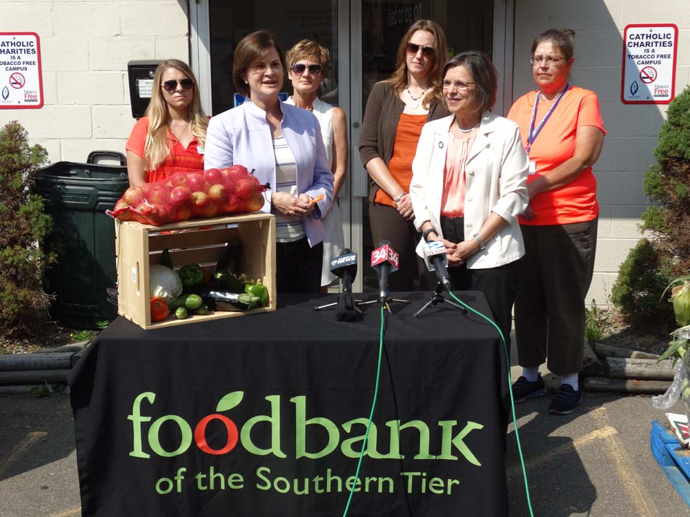 September 8, 2015 – The Food Bank of the Southern Tier and Assemblywoman Lupardo announce details of Hunger Action Month at Catholic Charities in Binghamton. Lupardo was able to secure a $25 thousand
