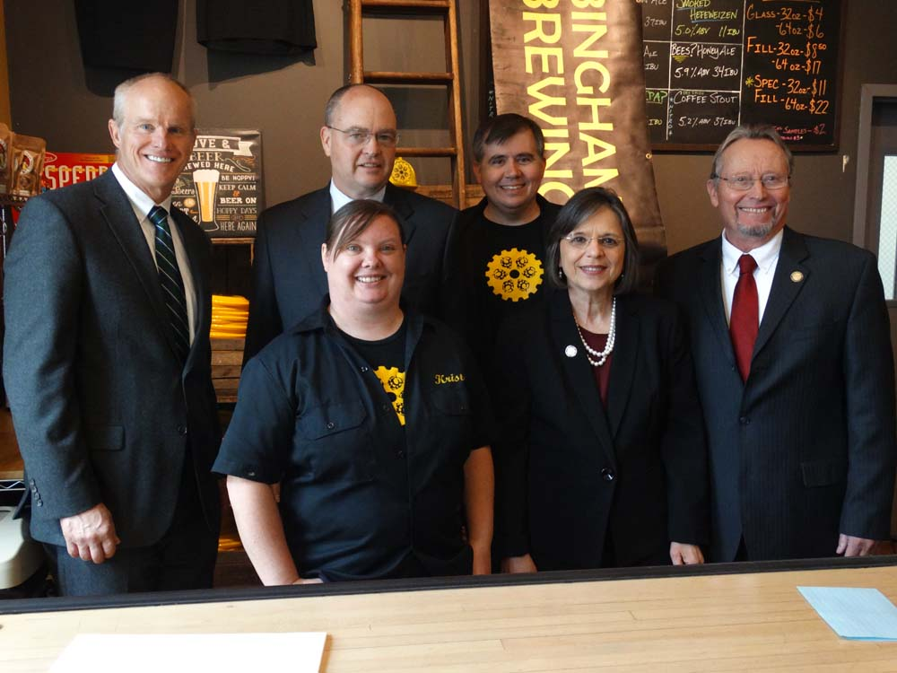 April 13, 2016 – Assemblywoman Lupardo joins the owners of Binghamton Brewing Co., Commissioner of Agriculture & Markets Richard Ball, State Liquor Authority Chairman Vincent Bradley, and Binghamton U
