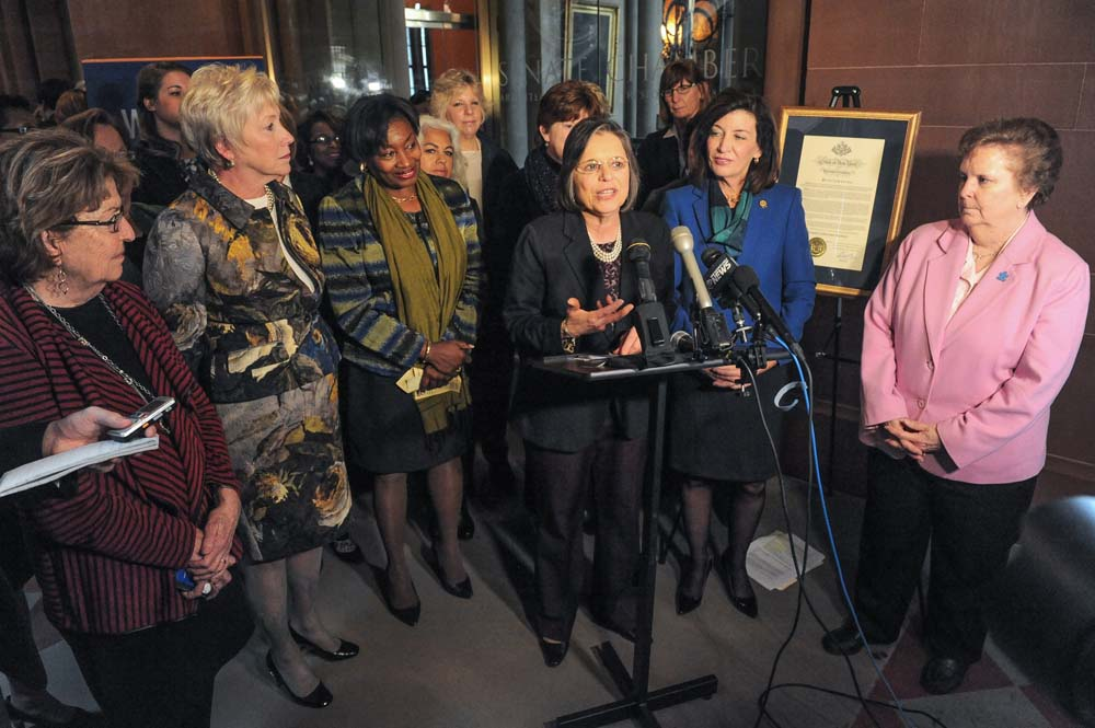 March 1, 2016 – Assemblywoman Lupardo, Chair of the Legislative Women's Caucus, speaks at a news conference kicking off Women's History Month.