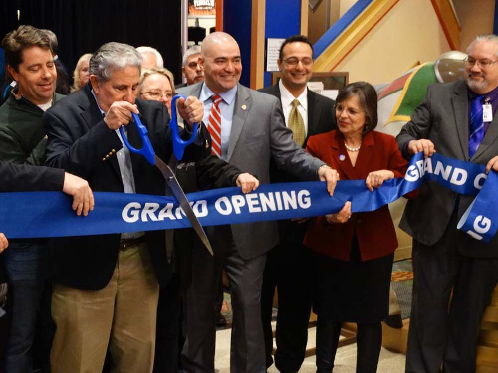 December 2, 2016 - Assemblywoman Lupardo helps cut the ribbon at Tioga Downs Casino in Nichols, the first New York State casino to open its doors.