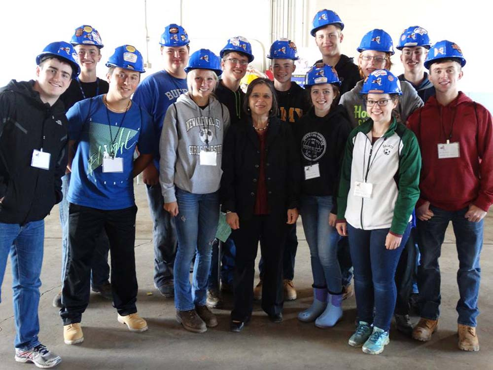 October 5, 2016 – Students attending the annual Southern Tier Construction Career Day pose for a photo with Assemblywoman Lupardo.