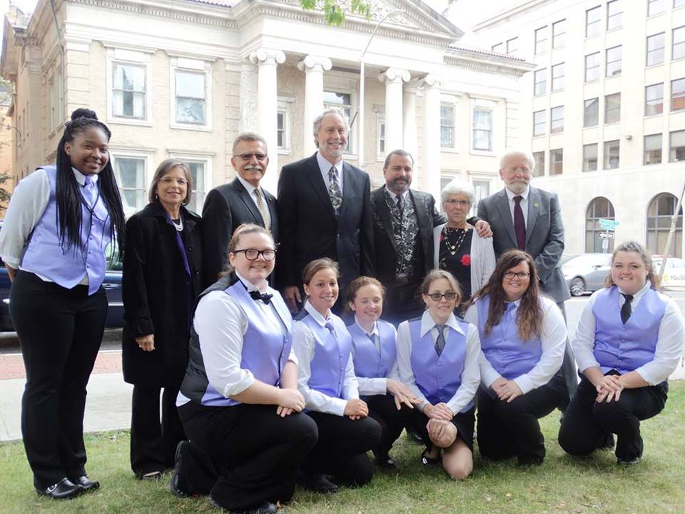 September 29, 2016 – Assemblywoman Lupardo, SUNY Broome officials, and Hospitality School students in front of the college's new Culinary Arts Center. Lupardo secured a $5 million appropriation i