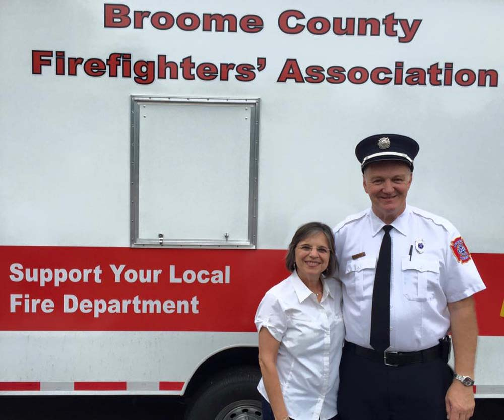 September 18, 2016 – Assemblywoman Lupardo and Rob Brady, President of the Broome County Firefighters Association at the dedication of BCFA's new safety trailer.