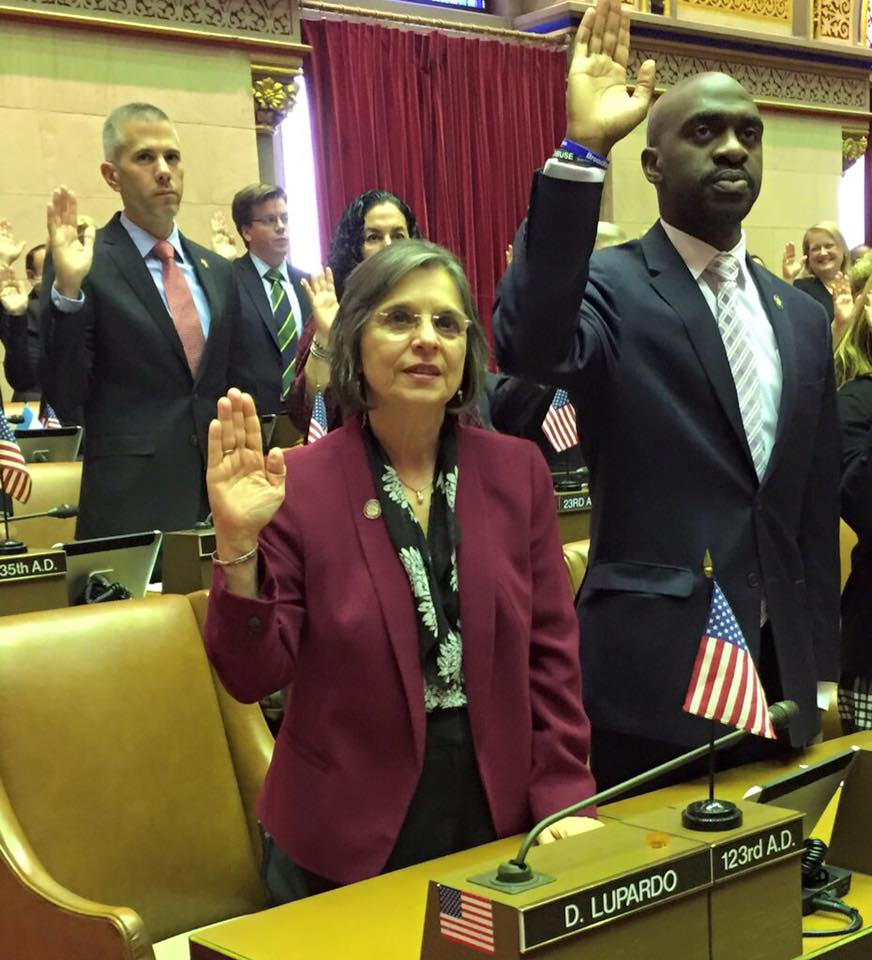 January 4, 2017 - Assemblywoman Lupardo is sworn in for her seventh term in the State Assembly.