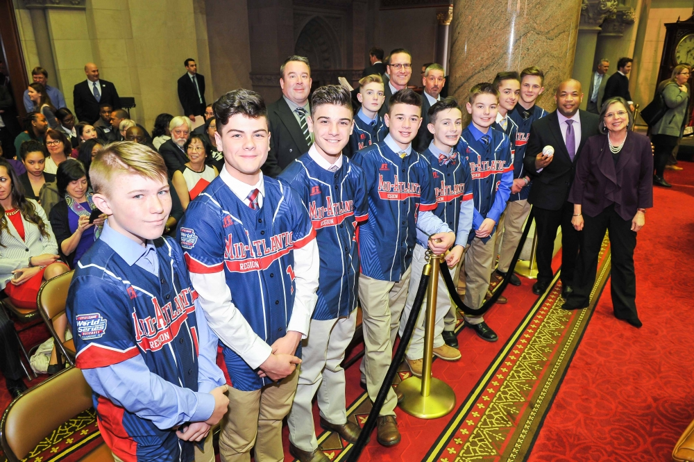 February 28, 2017 – Assemblywoman Lupardo and Speaker Carl Heastie with the 2016 Little League World Series Champions, Maine-Endwell.
