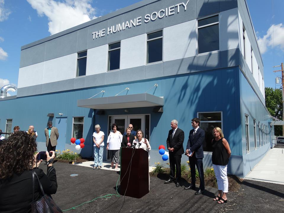 Assemblywoman Lupardo speaks at the grand opening of the Broome County Humane Society's new facility. Lupardo secured a $250 thousand Assembly Capital Grant to help with the building's const