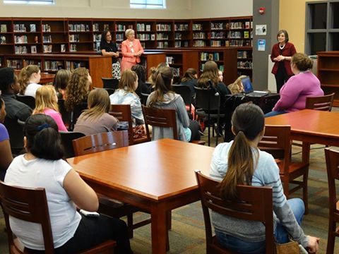 Assemblywoman Lupardo speaks to students at Jennie F. Snapp Middle School in Endicott during a Girls Who Code event that she organized to help get girls interested in STEM careers.