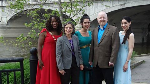 Assemblywoman Lupardo with actors and the director of Shakespeare on the River, part of this summer's Revel on the River.