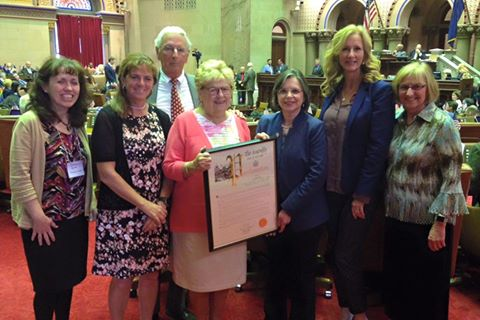 Assemblywoman Lupardo welcomes Jo Ann Freer, her husband, daughter, & representatives from the Broome County Office for Aging to the Assembly as Jo Ann was recognized as the 2017 NYS Older Volunte