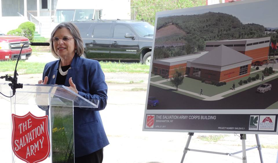 Assemblywoman Lupardo speaks at the groundbreaking of the Salvation Army's new North Side Job Training Center which will provide important training, education, and other wrap around services for