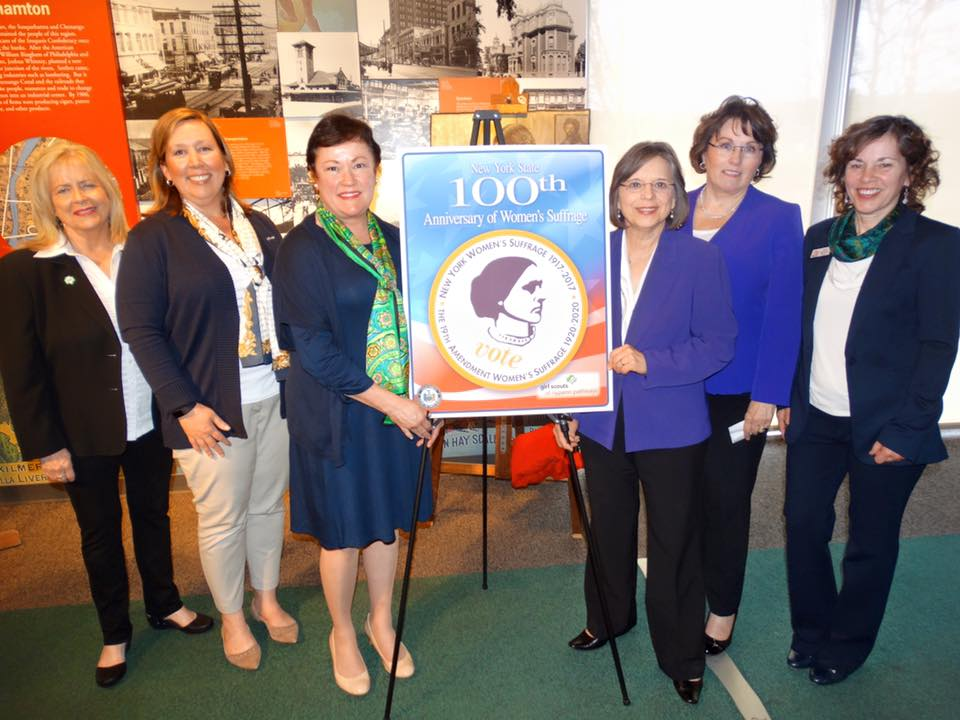 Assemblywoman Lupardo and Tioga Co. Legislative Chair Martha Sauerbrey, co-chairs of the Broome-Tioga Suffrage Anniversary Committee, join the Girl Scouts of NYPENN Pathways at Roberson Museum to unve