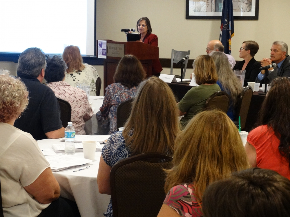 September 26, 2017 – Assemblywoman Lupardo, Chair of the Assembly Committee on Aging, gives opening remarks at an elder financial exploitation training in Binghamton.