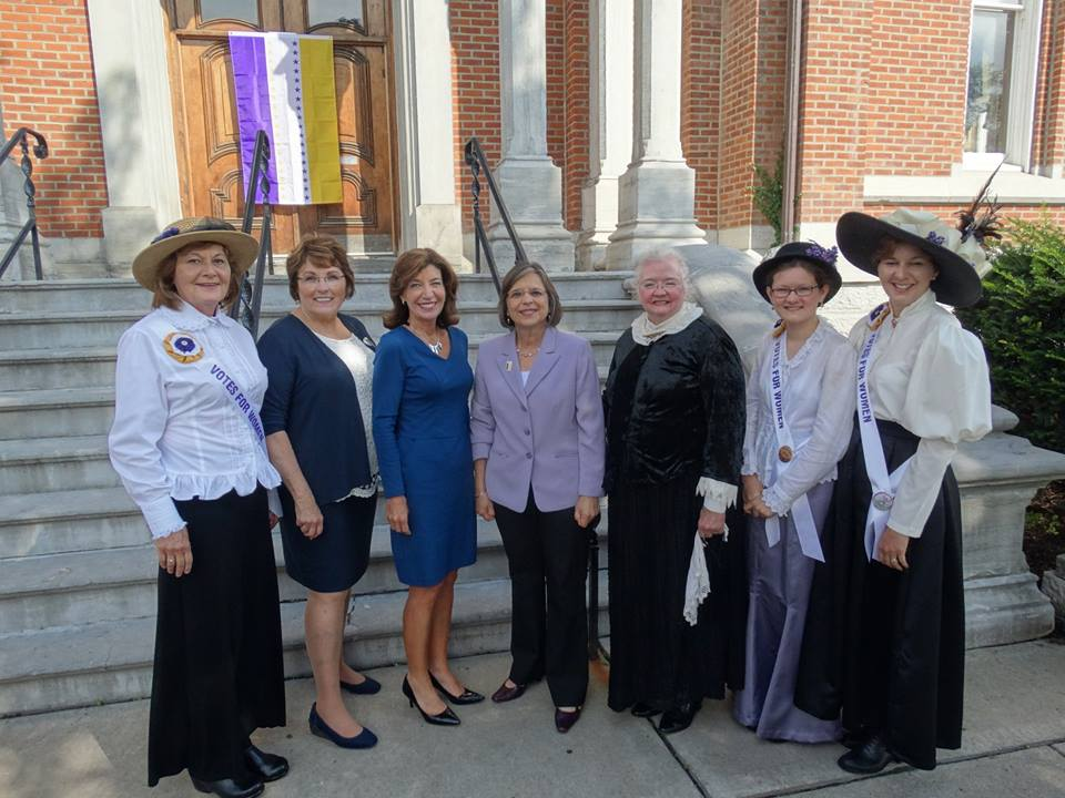 August 16, 2017 – Assemblywoman Lupardo and Tioga County Legislative Chair Martha Sauerbrey join Lieutenant Governor Kathy Hochul to announce details of local suffrage anniversary celebrations in Broo