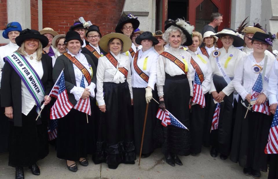 October 7, 2017 – Reenactors join Assemblywoman Donna Lupardo at a recreation of the historic 1913 Binghamton Suffrage Parade.