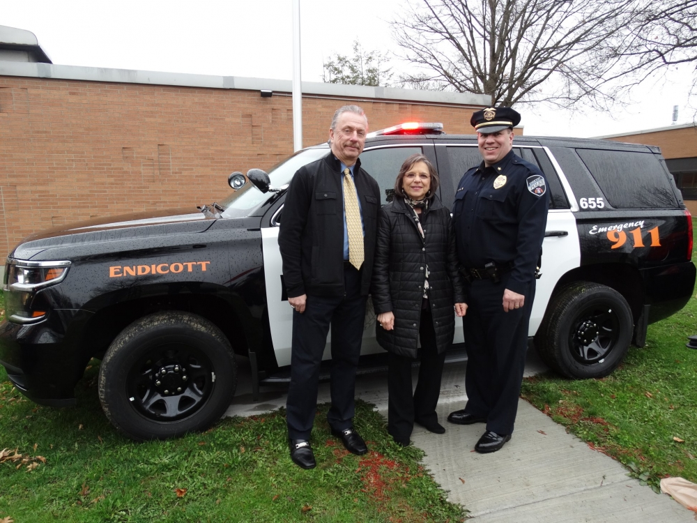 April 27, 2018 – Assemblywoman Lupardo and Endicott Assistant Police Chief Craig Williams (left) and Endicott Police Chief Pat Garey at an announcement regarding funding Lupardo secured for new vehicl