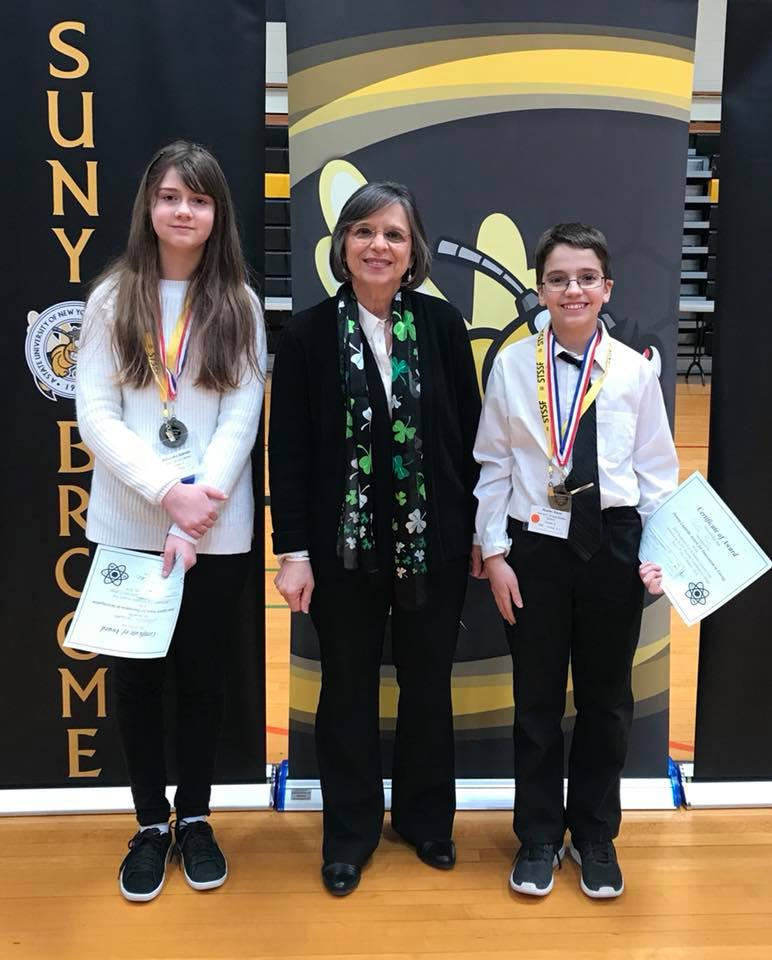 "March 17, 2018 – Assemblywoman Lupardo with Alexandra Zalesski and Austin Kane winners of the ""Innovations in Energy' Award she sponsored at the Southern Tier Scholastic Science Fair."
