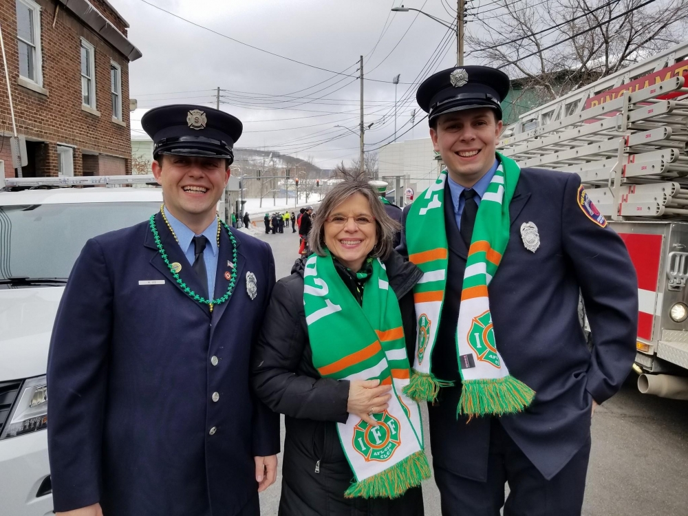 March 3, 2018 – Assemblywoman Lupardo and firefighters from the Johnson City Fire Department at the Binghamton St. Patrick's Day Parade.