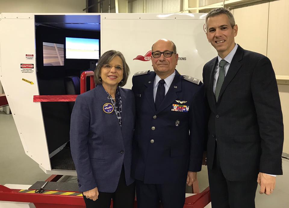December 11, 2017 – Civil Air Patrol NY Wing Commander Tom Corello with Assemblywoman Lupardo and Assemblyman Anthony Brindisi at the opening of CAP's new simulator.