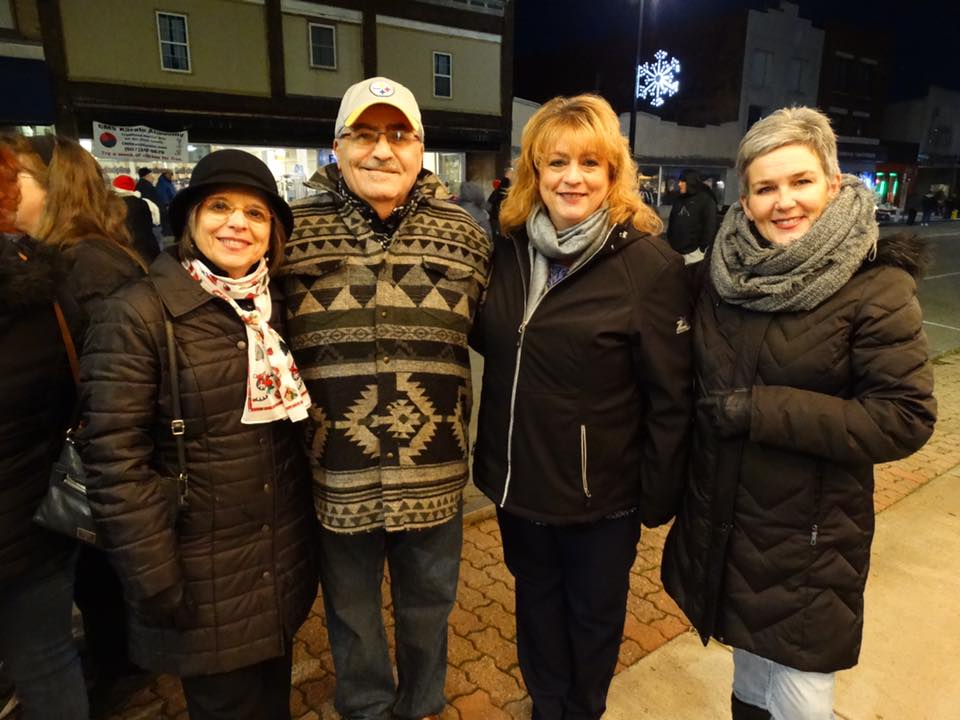 December 1,2017 – Assemblywoman Lupardo with (l to r) Vince and Tammy Briga of Endicott, and Village Deputy Mayor Eileen Konecny at the inaugural Holiday Magic on the Avenue event Lupardo helped organ