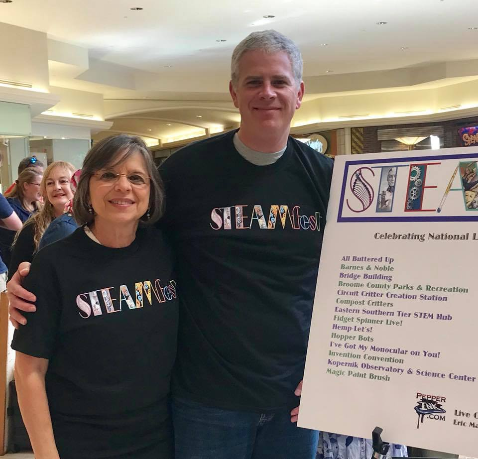 October 21, 2017 – Broome County Executive Jason Garnar and Assemblywoman Lupardo visit Steamfest, a hands-on makers fair to encourage students to get involved in science, technology, engineering, art