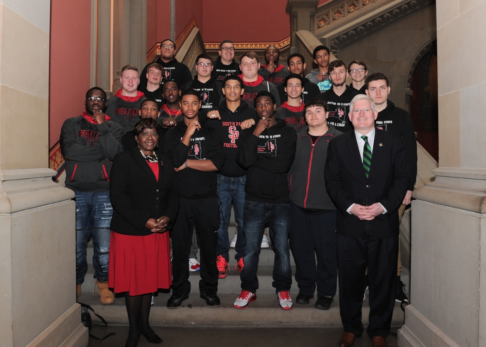 March 14, 2016 – Assemblywoman Peoples-Stokes welcomes the New York State Class A Football Champions from South Park High School to the Assembly Chamber.