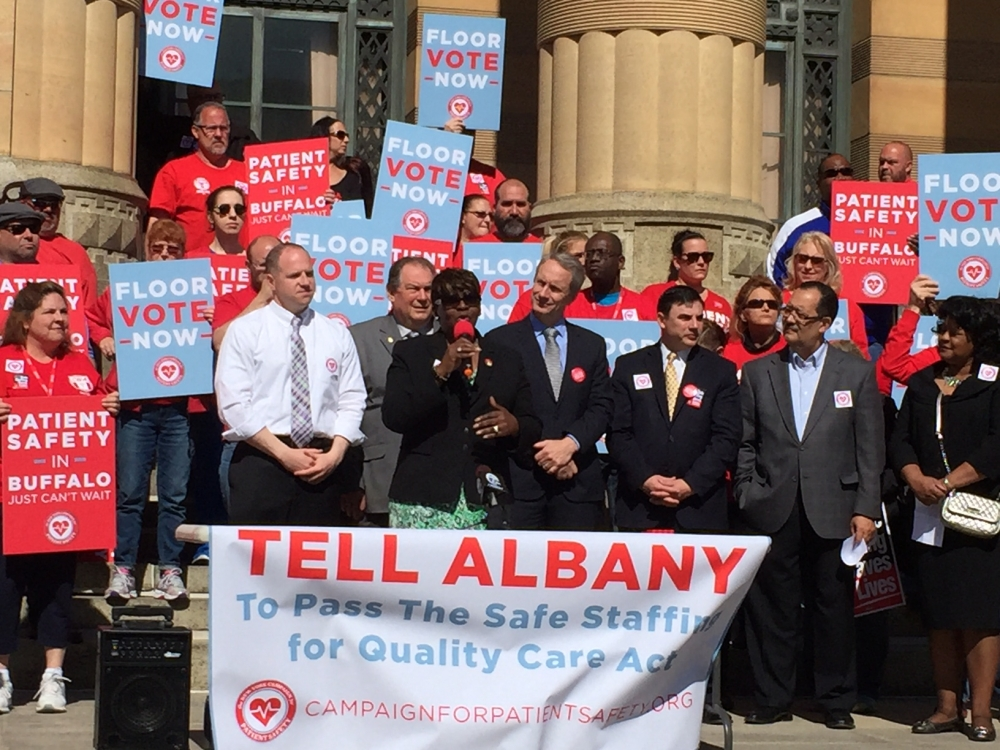 May 06, 2016 – Assemblywoman Peoples-Stokes stands with advocates in support of the Safe Staffing For Quality Care Act.