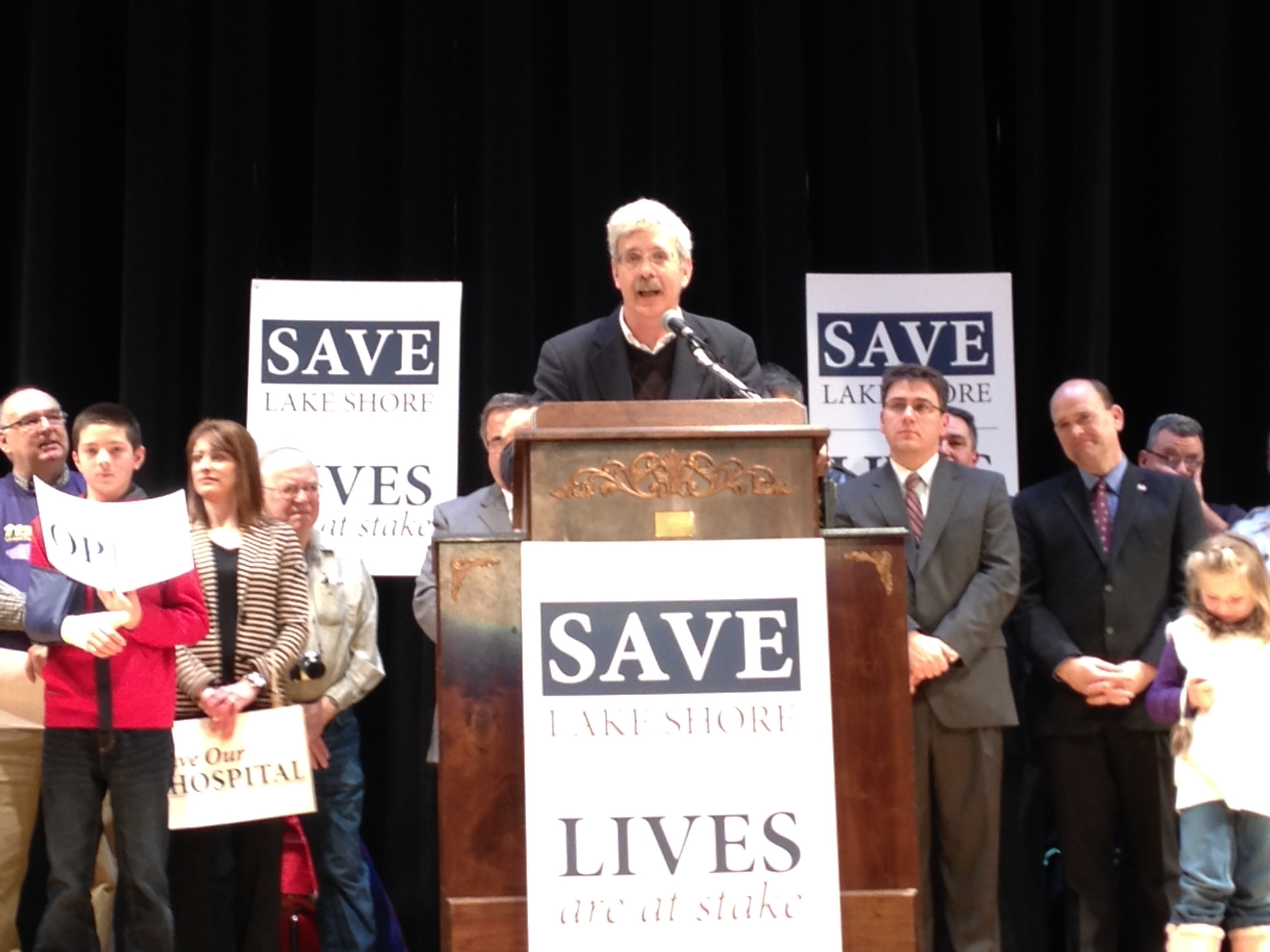 Assemblyman Andy Goodell speaks during a rally in support of Lake Shore Hospital.