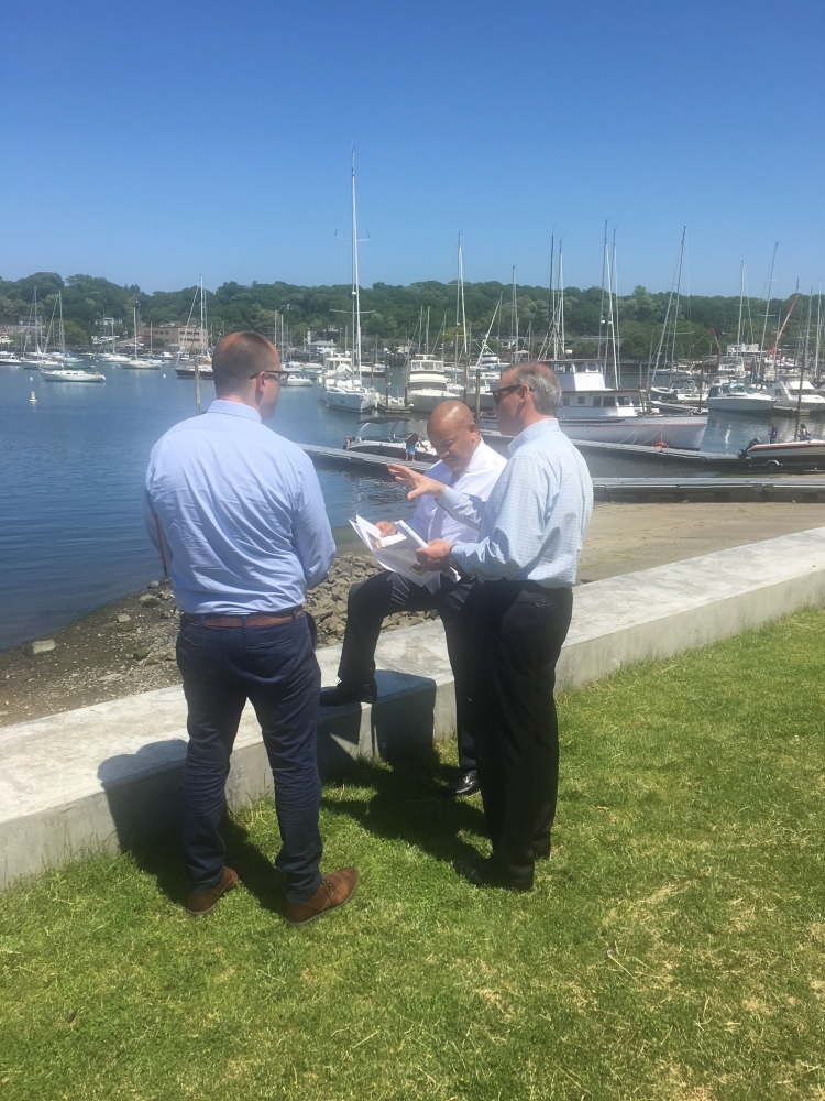 Pictured with Speaker Heastie in the first photo at Huntington Harbor (from left to right): John Sohngen, P.E., Principal Health Engineer, Suffolk County Office of Ecology; and Assemblymember Steve Stern.